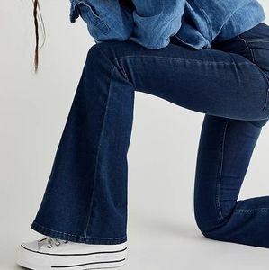Free People Dark Wash Flare Wide Leg Jeans Boho